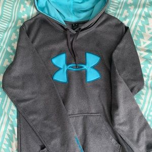 Gray and Teal Under Armor Hoodie